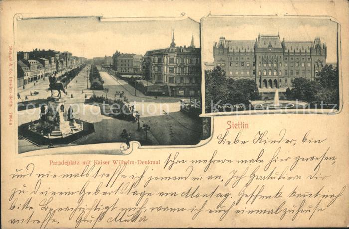 Stettin Westpommern Paradeplatz mit Kaiser Wilhelm Denkmal Victoria Platz Kat. Szczecin