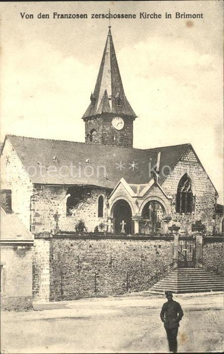 Brimont Von den Franzosen zerschossene Kirche 1. Weltkrieg Kat. Brimont