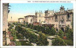 San Diego California El Prado from West Gate Kat. San Diego
