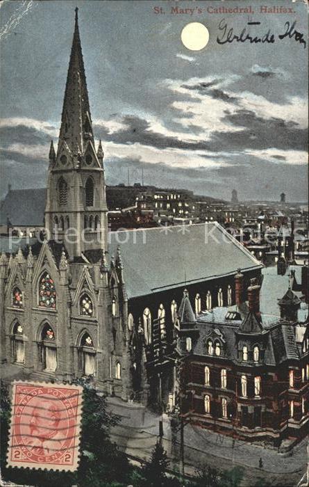 Halifax Nova Scotia St Marys Cathedral moonlight Kat. Halifax