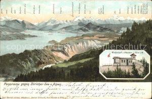 Hausen Albis Panorama Zuericher See und Alpen Wirtschaft zum Albishorn Kat. Hausen Albis