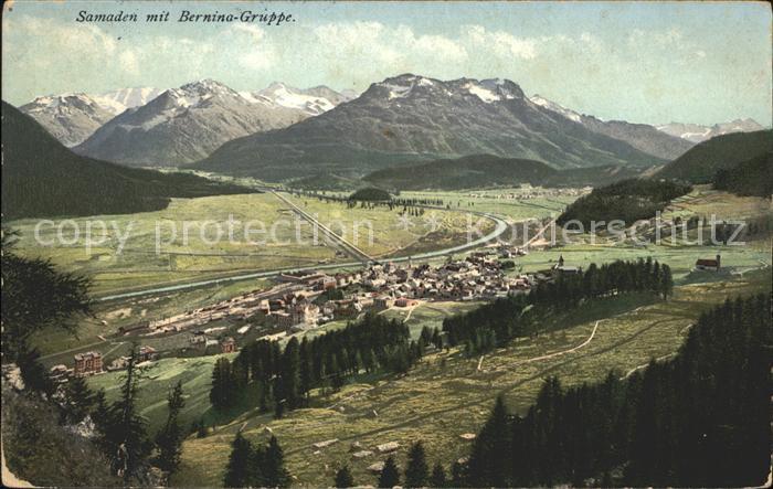 Samaden Panorama mit Berninagruppe Kat. Maloja