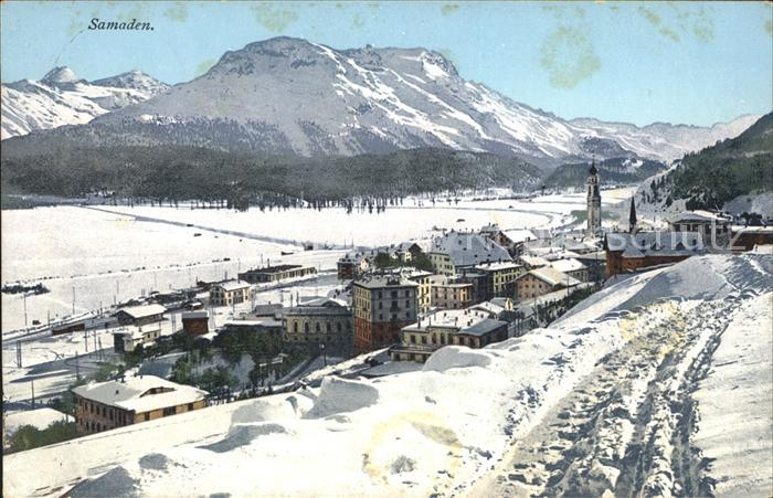 Samaden Gesamtansicht mit Alpenpanorama im Winter Kat. Maloja