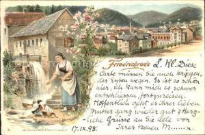 Friedrichroda Wassermuehle Enten Litho / Friedrichroda /Gotha LKR
