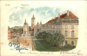 Teplitz-Schoenau Sudetenland Bad Schlossplatz Litho / Teplice /