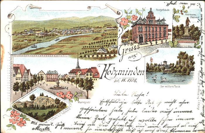 Holzminden Weser Totalansicht Der mittlere Teich Postgebaeude / Holzminden /Holzminden LKR