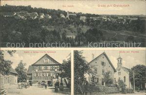 Grosserlach Kirche mit Pfarrhaus Gasthaus zur Krone / Grosserlach /Rems-Murr-Kreis LKR