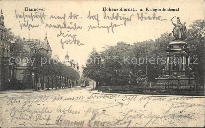 Hannover Hohenzollernstrasse Kriegerdenkmal Kat. Hannover