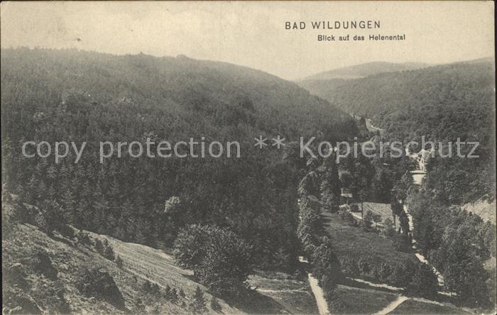 Bad Wildungen Panorama Blick auf das Helenental Kat. Bad Wildungen