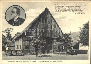 Alhausen Westfalen Geburtshaus Fr Wilh Weber  Kat. Bad Driburg
