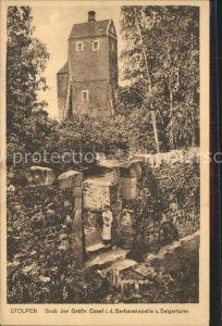 Stolpen Schloss Stolpen Grab der Graefin Cosel in der Barbarakapelle mit Seigerturm Kat. Stolpen