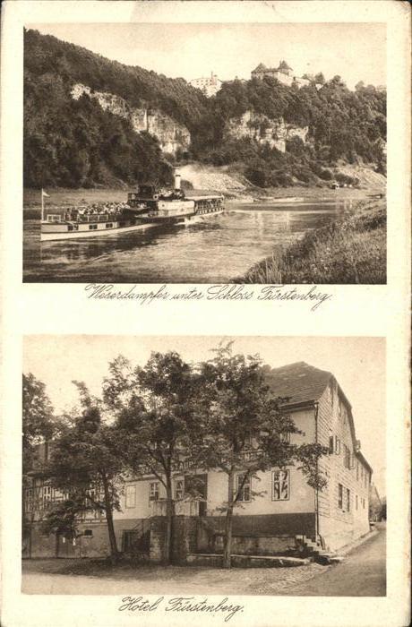 Hoexter Weser Weserdampfer Schloss Fuerstenberg Kat. Hoexter