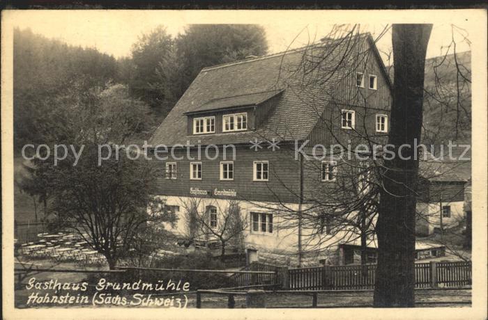 Hohnstein Saechsische Schweiz Gasthaus Grundmuehle Kat. Hohnstein