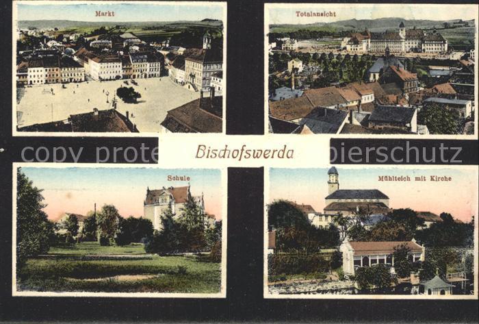 Bischofswerda Muehlteich Kirche Schule Markt Kat. Bischofswerda