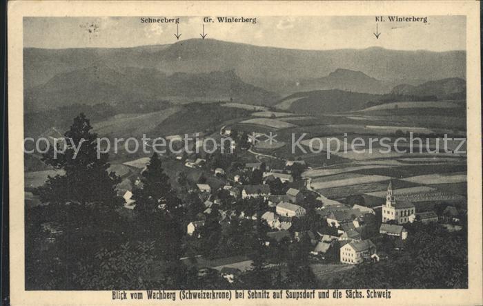 Sebnitz Blick vom Wachberg auf Saupsdorf auf saechsiche Schweiz Kat. Sebnitz