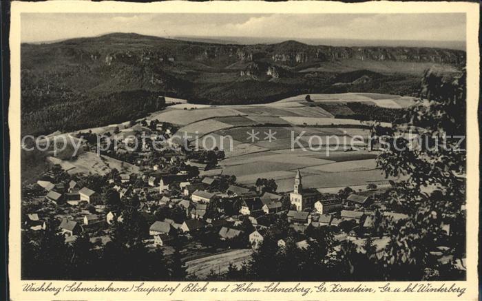 Hinterhermsdorf Blick vom hohen Schneeberg auf Saupsdorf Kat. Sebnitz
