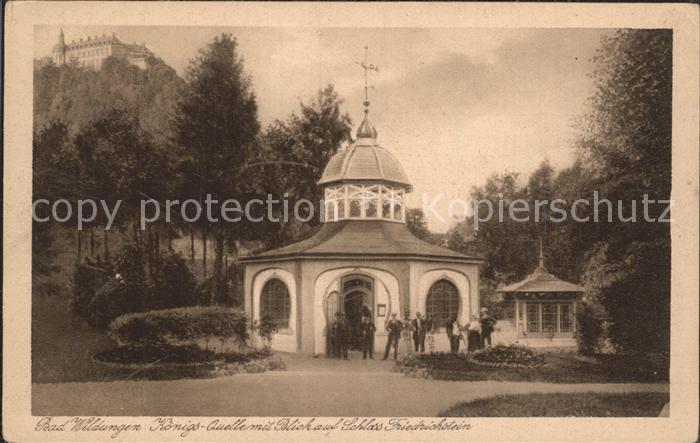 Bad Wildungen Koenigsquelle mit Blick auf Schloss Friedrichstein Kat. Bad Wildungen