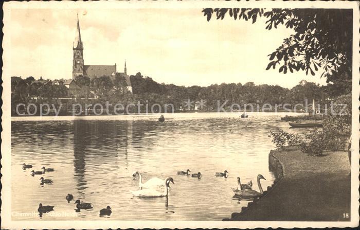 Jena Partie am Teich Schwaene Kirche Kat. Jena