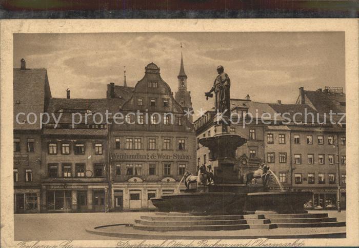 Freiberg Sachsen Obermarkt mit Brunnen Denkmal Otto des Reichen Kat. Freiberg