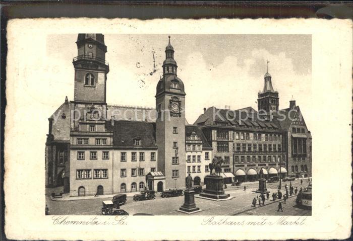 Chemnitz Markt mit Rathaus Kat. Chemnitz