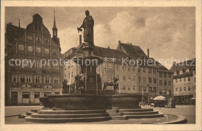 Freiberg Sachsen Obermarkt Brunnen Denkmal Otto des Reichen Kat. Freiberg