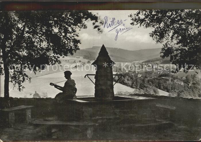 Rittersgruen Feierabend in der Bezirksjugendherberge Brunnen Gitarrenspiel Kat. Rittersgruen