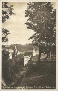 Schwarzenberg Erzgebirge Durchblick vom Todenstein Schloss Kirche Kat. Schwarzenberg