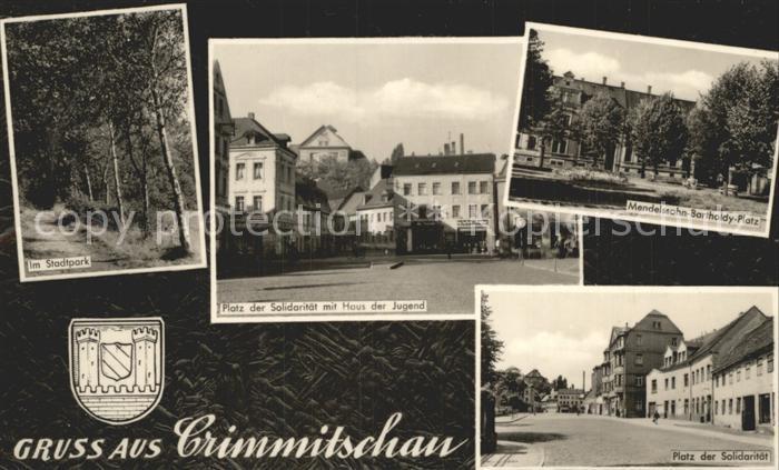 Crimmitschau Stadtpark Platz der Solidaritaet Haus der Jugend Mendelsohn Bartholdy Platz Wappen Kat. Crimmitschau