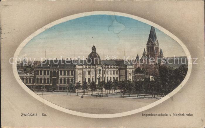 Zwickau Sachsen Moritzkirche mit Ingenieurschule Kat. Zwickau