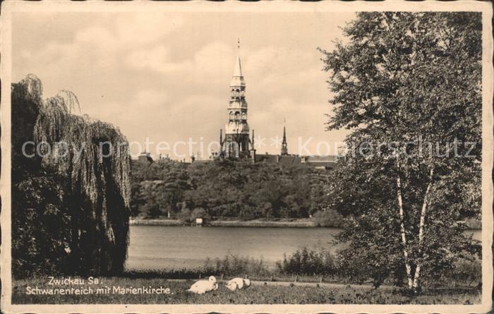Zwickau Sachsen Schwanenteich mit Marienkirche Kat. Zwickau