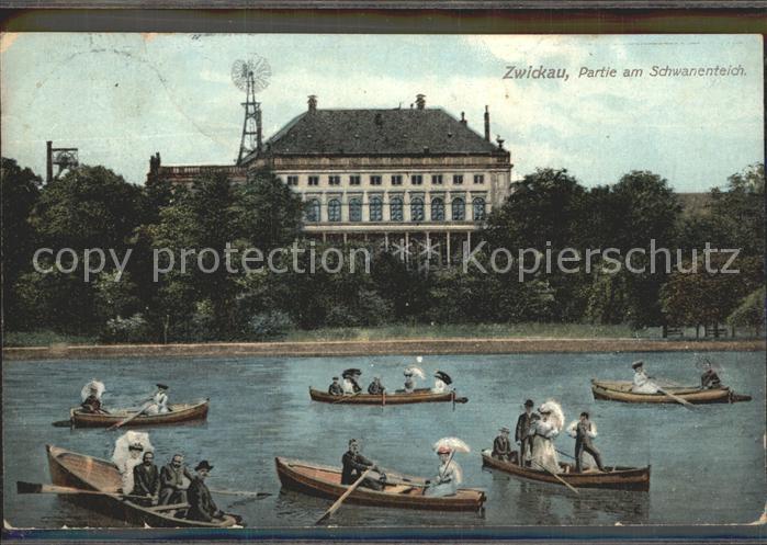 Zwickau Sachsen Boote auf dem Schwanenteich mit Schloss Kat. Zwickau