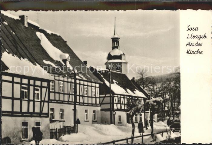 Sosa Erzgebirge Partie an der Kirche im Winter Kat. Sosa
