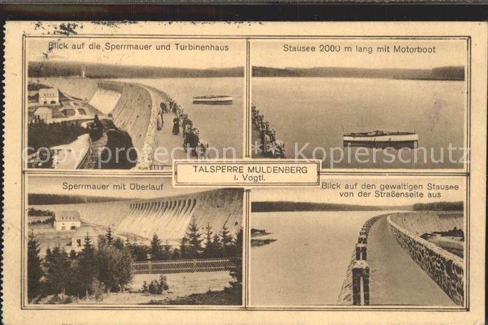 Muldenberg Vogtland Talsperre Sperrmauer Turbinenhaus Stausee Motorboot ueberlauf Kat. Schoeneck Vogtland