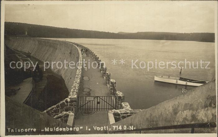 Muldenberg Vogtland Talsperre Sperrmauer Stausee Motorboot Kat. Schoeneck Vogtland