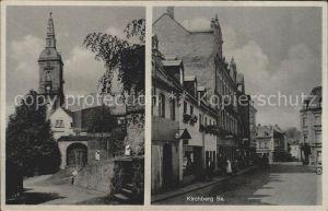 Kirchberg Sachsen Strassenpartie mit Kirche Kat. Kirchberg Sachsen