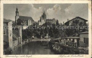 Schwarzenberg Erzgebirge Blick von Vorstadtbruecke Kat. Schwarzenberg