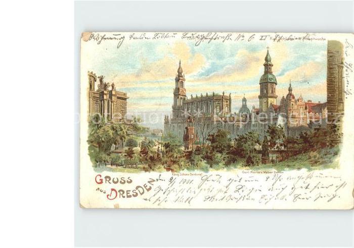 Dresden Koenig Johann Denkmal Carl Maria von Weber Denkmal Kat. Dresden Elbe