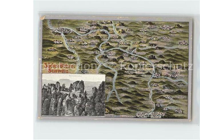 Koenigstein Saechsische Schweiz Karte mit der Umgebung Kat. Koenigstein Saechsische Schweiz