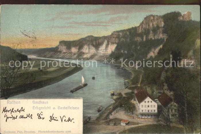 Rathen Saechsische Schweiz Gasthaus Erbgericht mit Elbe und Basteifelsen Kat. Rathen Sachsen