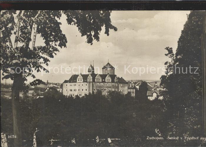 Zschopau Schloss Zschopau vom Friedhof gesehen Kat. Zschopau