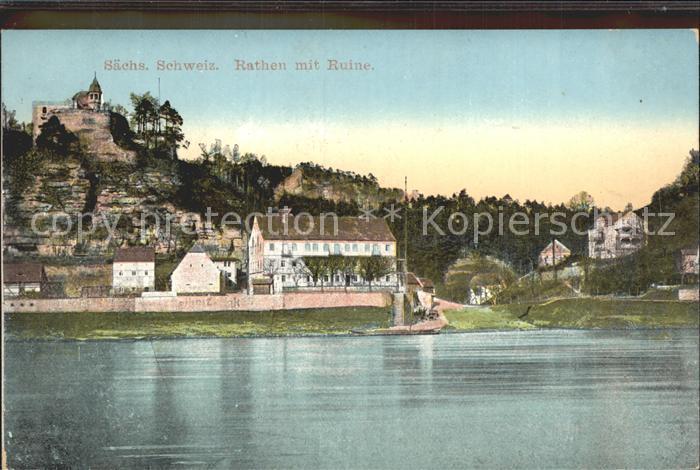 Rathen Saechsische Schweiz Ruine Gasthaus Erbgericht Elbepartie Kat. Rathen Sachsen