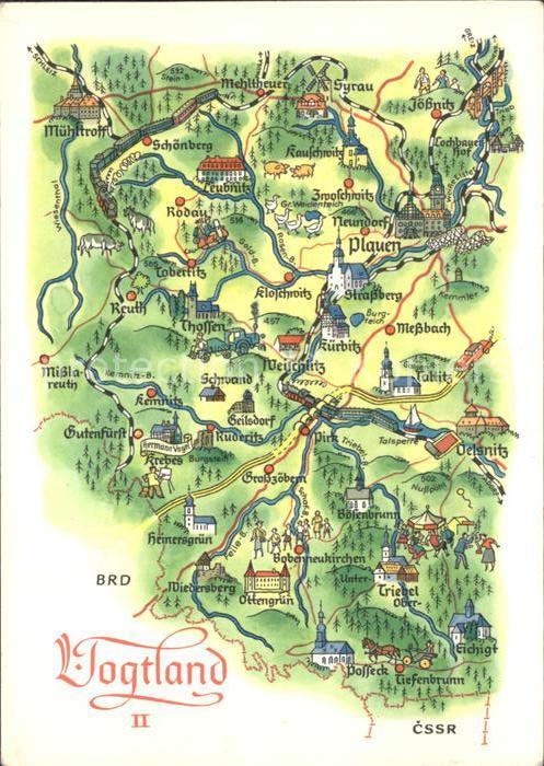 Plauen Vogtland Landkarte Kat Plauen Nr Dp24496 Oldthing