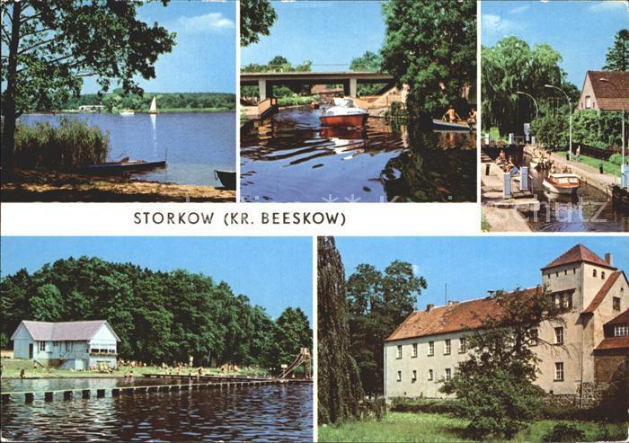 Storkow Mark Storkower See Kanal Schleuse Strandbad Burg Kat. Storkow Mark
