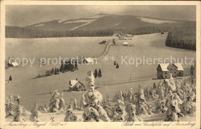 Carlsfeld Erzgebirge Winterpanorama mit Auersberg Kupfertiefdruck Kat. Eibenstock