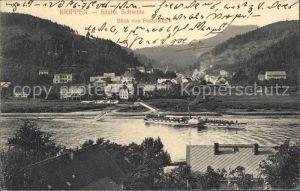 Krippen Bad Schandau Blick von Postelwitz Elbe Dampfer Kat. Bad Schandau