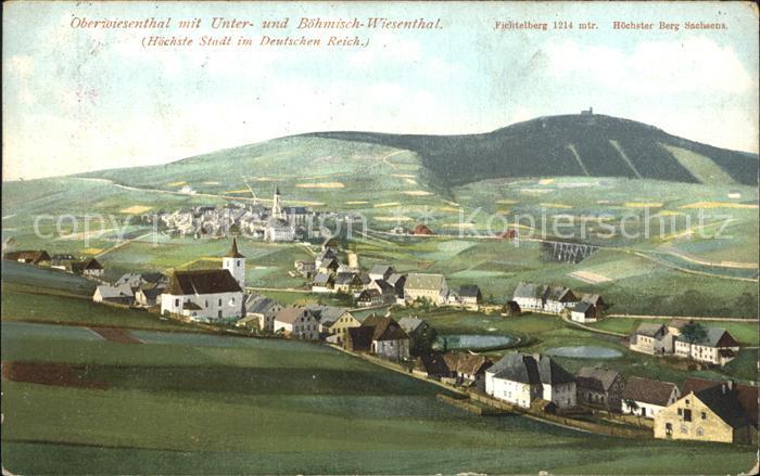 Oberwiesenthal Erzgebirge mit Unter und Boehmisch Wiesenthal Panorama Kat. Oberwiesenthal