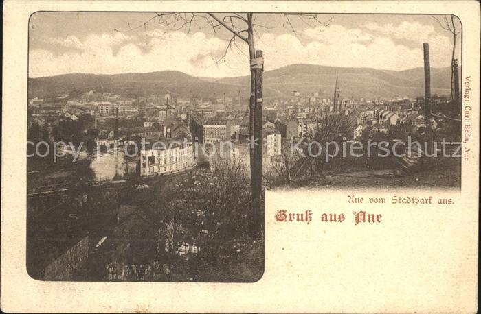Aue Erzgebirge Blick vom Stadtpark Kat. Aue