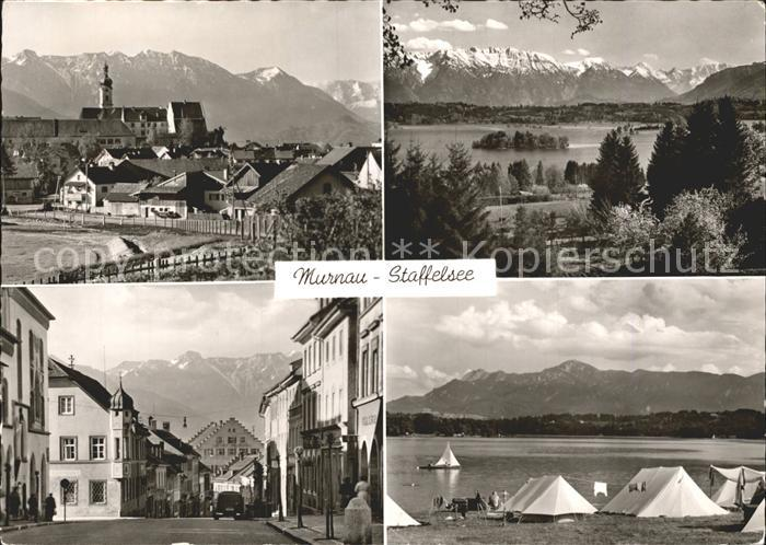 Murnau Ortsansicht mit Kirche Strassenpartie Campingplatz Alpenpanorama Kat. Murnau a.Staffelsee