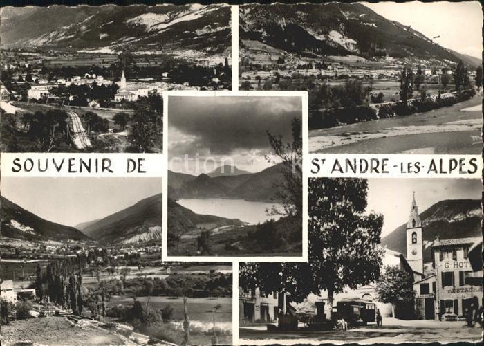 Saint Andre les Alpes Vue generale Eglise Lac Montagnes Kat. Saint Andre les Alpes