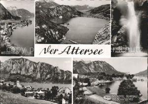 Attersee Weissenbach Burggraben Klamm Unterach Seehotel Burgau mit Schafberg Kat. Attersee